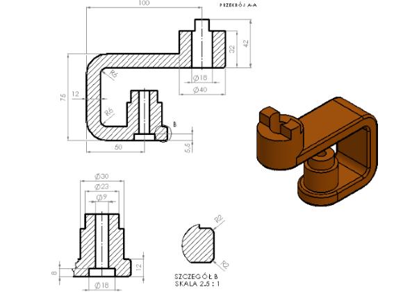 Podstawowe modelowanie części, złożenia, rysunki